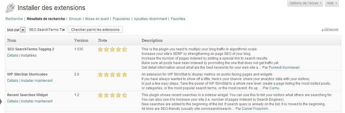 "Installation du plugin WordPress ""SEO SearchTerms Tagging 2"""